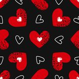Eamless pattern with grunge hearts. Seamless pattern with grunge hearts. design for Valentine`s Day Royalty Free Stock Image