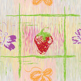 Seamless pattern with grunge strawberry,butterfly and leaf Royalty Free Stock Photography