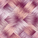 Seamless pattern with grunge striped square elements in pastel colors on violet background Stock Images