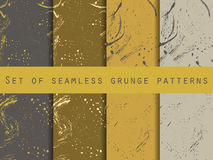 Seamless pattern in grunge style. Design with clots and strokes. Royalty Free Stock Images