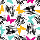 Seamless pattern with grunge textures and butterflies. Hand drawn fashion hipster background.  Royalty Free Stock Photo