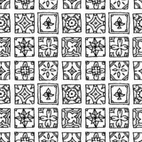 Seamless pattern of grunge tiles. Vintage Islam, Arabic, Indian, ottoman decorative design elements. Patchwork handdrawn motifs vector illustration