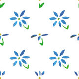 Seamless pattern with grunge watercolor flowers Royalty Free Stock Image