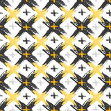 Seamless pattern with grunge yellow and black cross textures. Fashion hipster background. Vector for web, print, fabric, textile, Stock Photos