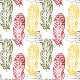 Seamless pattern with grungy feathers, halftone print Stock Images