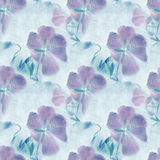 Seamless pattern. Grungy retro background with flowers. Stock Photo