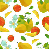 Seamless pattern guava and flower Royalty Free Stock Photography