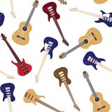 Seamless pattern with guitars Royalty Free Stock Photo