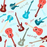 Seamless pattern with guitars and text Stock Photos