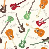 Seamless pattern with guitars and text Stock Image