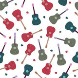 Seamless pattern with guitars Stock Photo