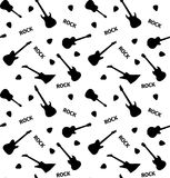 Seamless pattern with guitars on a white background Stock Image