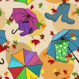 Seamless pattern of gumboots and umbrellas Royalty Free Stock Photo