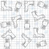 Seamless pattern with gumshoes. High sneakers Stock Images