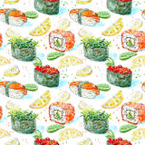 Seamless pattern of a gunkan, sushi and roll. Japanese cuisine. Salmon,red caviar,lemon,wasabi and chuka.Watercolor hand drawn illustration.White background Royalty Free Stock Images