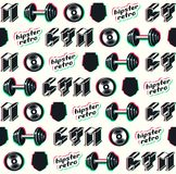 Seamless pattern for gym club. Illustration with glitch distortion effect. Design for your textiles, backgrounds, wrapping paper. Color print on white