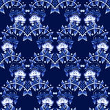 Seamless pattern in Gzhel style. National ornament in Russian or Chinese stylization. Stock Image