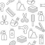 Seamless pattern hair salon set outline icon suitable for wallpaper and background. Seamless pattern hair salon set outline vector icon suitable for wallpaper royalty free illustration