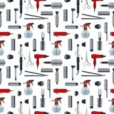 Seamless pattern of hairdresser objects in flat style isolated on white background. Hair salon equipment and tools logo. Icons, hairdryer, comb, scissors Royalty Free Stock Image
