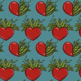 Seamless pattern with half nature plants and red hearts. Vector illustration royalty free illustration