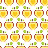 Seamless pattern half red apples. Fruit Background for print. Stock Photos