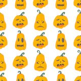 Halloween pattern with angry pumpkins Stock Photography