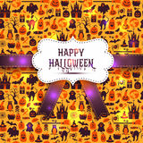 Seamless pattern of halloween for autumn celebration with icons Stock Photo