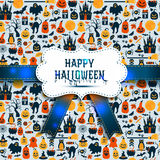 Seamless pattern of halloween for autumn celebration with icons Stock Image