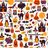 Seamless pattern of halloween for autumn celebration with icons Royalty Free Stock Photo