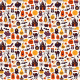 Seamless pattern of halloween for autumn celebration with icons Stock Photos