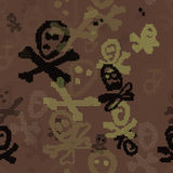 Seamless pattern on a Halloween bones theme in shades of green Royalty Free Stock Photography