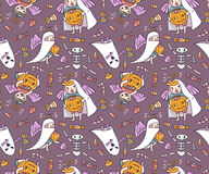 Seamless pattern with halloween characters. Children in costumes. Ghost and angels with pumpkin and sweets   on the violet background. Trick or treat vector Royalty Free Stock Photography