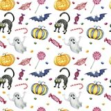 Seamless pattern with halloween characters on white background. royalty free stock photography