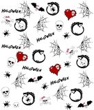 Seamless pattern with halloween drawings on white Royalty Free Stock Photos