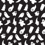 Seamless pattern from halloween emotional ghosts Royalty Free Stock Image
