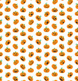 Seamless pattern from Halloween emotional pumpkins Stock Images
