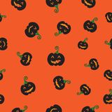 Seamless pattern for Halloween. Illustration of pumpkin on orang. Seamless pattern for Halloween. Illustration of beautiful pumpkin, eyes & mouth emotional Stock Photos