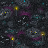 Seamless Pattern with Halloween objects on blackboard Royalty Free Stock Images