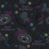Seamless Pattern with Halloween objects on blackboard Stock Photos