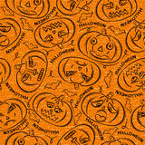 Seamless Pattern with Halloween objects on orange background Stock Photography
