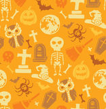 Seamless pattern with halloween objects. Royalty Free Stock Photo
