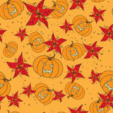 Seamless pattern with Halloween pumpkin and flowers Stock Images