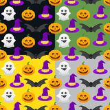seamless pattern for Halloween, pumpkin, ghost, witch hat Stock Photos