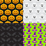 seamless pattern for Halloween, pumpkin, ghost, witch hat Royalty Free Stock Images