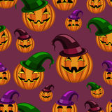 Seamless pattern halloween pumpkin with hat Royalty Free Stock Image