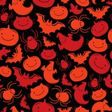 Seamless pattern Halloween. With pumpkins, bats, spiders, ghosts, cats Royalty Free Stock Photo