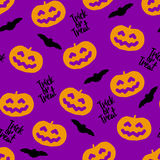 Seamless pattern for Halloween with pumpkins and bats Stock Image