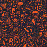 Seamless Pattern With Halloween Pumpkins And Monsters Stock Images