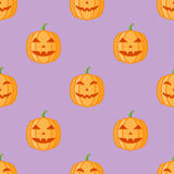 Seamless pattern with halloween pumpkins on purple background. Vector texture Royalty Free Stock Photography