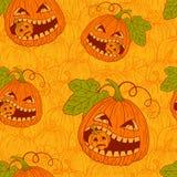 Seamless pattern with Halloween pumpkins. Vector illustration Stock Photos